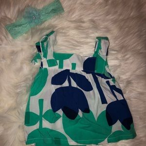 NWT Baby girl floral top with matching bow